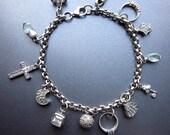 Sterling Silver Vintage Charm Bracelet Crosses Stars and Hearts