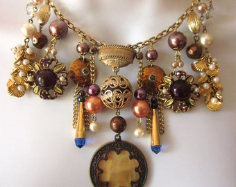 Statement Charm Necklace Assemblage Bib Necklace Vintage Repurposed Mother of Pearl