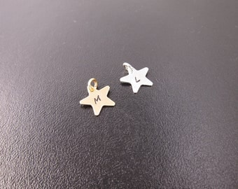 Add an Initial Star Charm to Your Bangle... Sterling Silver Initial Charm or Gold Tone Brass Initial Charm, Custom Initial Charms