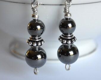Hematite and silver dangle earrings, hematite jewelry, hematite earrings