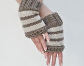 Reserved for Irina - knitted striped wrist warmers