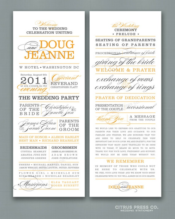 Wedding program long block text words pdf double sided for jamie