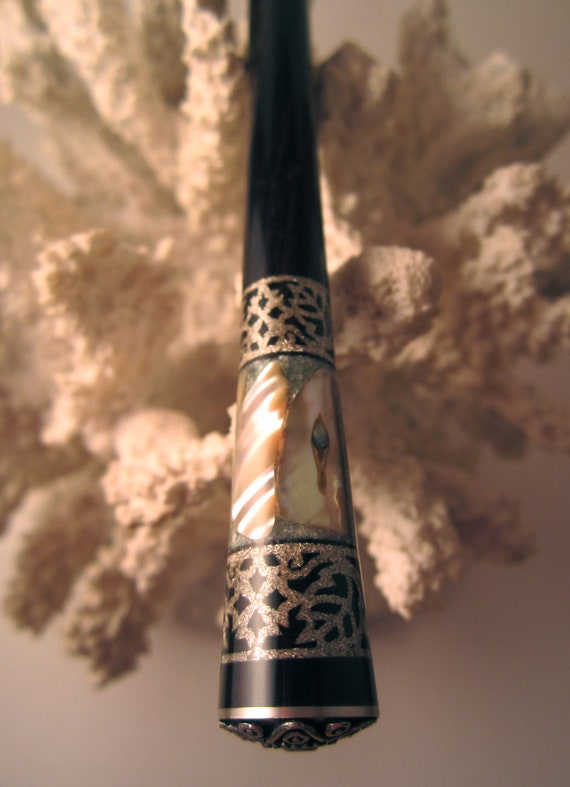 "FRIDAY NIGHT SALE- ""Oriental"" Fancy Scroll Hair Stick African Blackwood Inlaid with Seraphanite, Abalone and Silver, with a Silver Bead Cap"