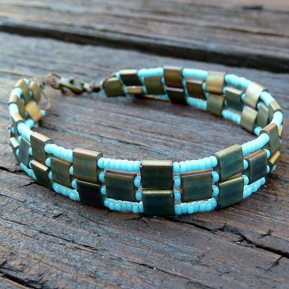 Clearance Patina Tile Bracelet Turquoise Glass Seed Beads