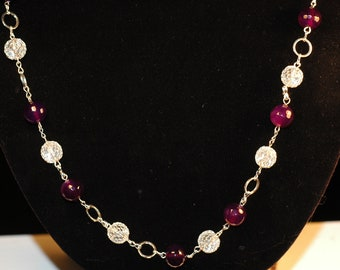 Amethyst Agate and Silver Mesh and chain necklace , Mardi Gras necklace