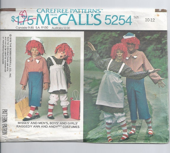 Raggedy Ann and Andy Costume Pattern ,,, child size 10-12 McCalls 5254