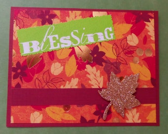 Golden Leaf Blessing Fall Greeting Card