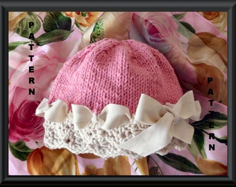 Baby Hat Pattern Knitted Hat Pattern Newborn Hat Pattern Infant Hat Pattern Knitting Pattern for Lace Baby Hat with Ribbon: BERIBBONED