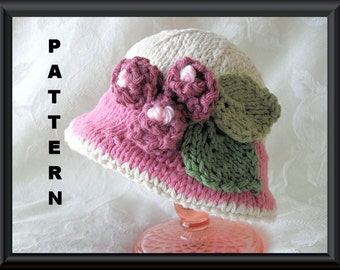 Knitted Hat Pattern Baby Hat Patterns Knit Hat Pattern Newborn Hat Pattern Infant Hat Pattern Baby Hat with Rose: ROARING TWENTIES