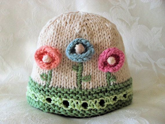 Cotton Knitted Baby Hat -  Hand Knitted Baby Hat with Knitted and Embroidered Flowers-Children Clothing- HOW Does Your GARDEN GROW