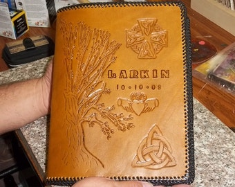 Custom hand tooled leather Anniversary/Wedding journal