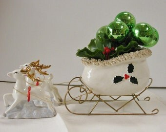 Vintage White Ceramic Sleigh and Reindeer filled Plastic Holly and Christmas Ball Stem 1950s Centerpiece Festive Table Top Planter