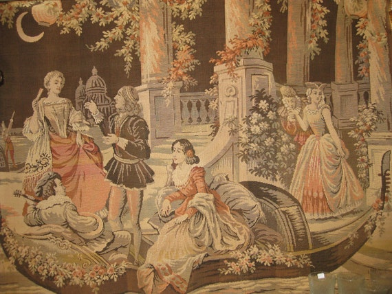 Vintage Tapestry Large Wall Hanging Old World Renaissance
