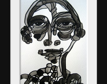 Abstract Original Portrait Series Family Figure Black and White