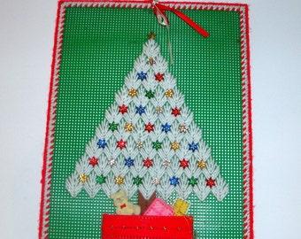 Vintage Needlecraft White Christmas Tree, Needlepoint, Wall Hanging, Holiday Decor, Decoration  (951-12)
