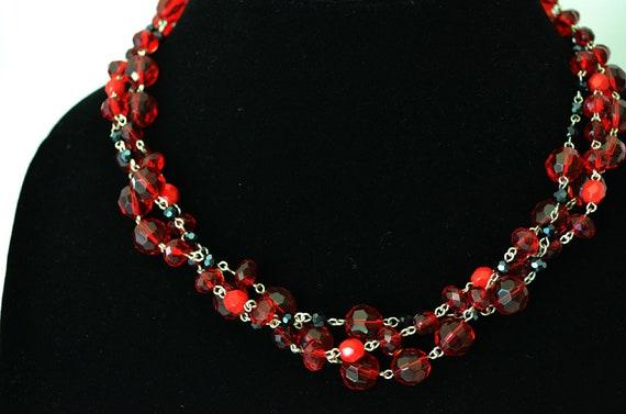 Red and black necklace Georgia/Valentine's inspired crimson hand beaded three strand