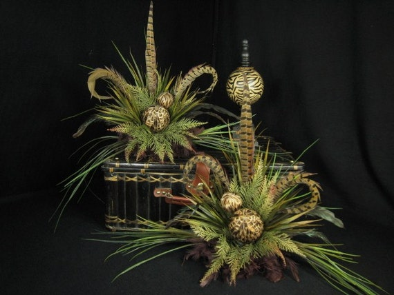 Pair of Brown Double Feather Ball Old World Style Floral Arrangements