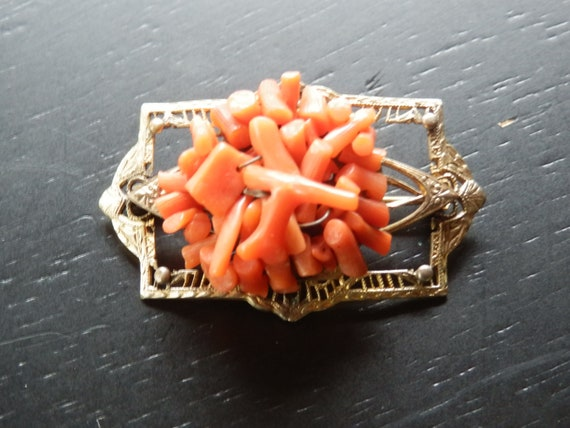 Victorian coral pin  wire wrapped  10k gold wash
