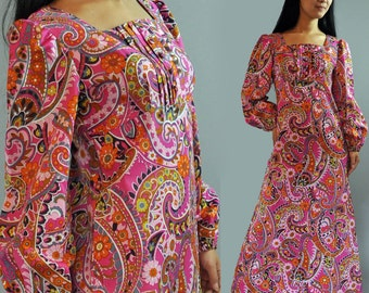 60s hippie maxi dress mod artsy floral bohemian babydoll maxi party dress s / small m / medium