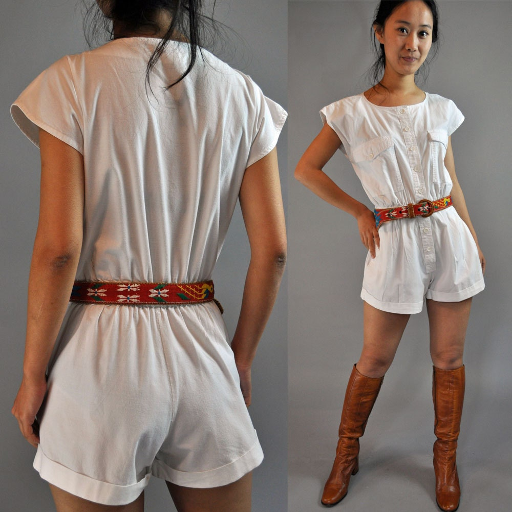 Vintage 80s Romper Shorts Womens Romper White Cotton