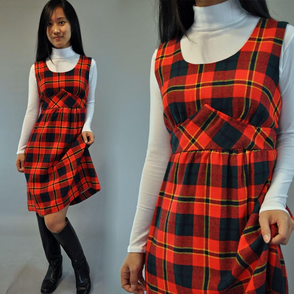 60s vintage Plaid Jumper Dress / womens Jumper Dress / Empire