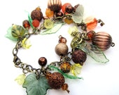 Fall Bracelet with Glitter Beads, leaves, flowers