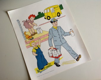 1960s Vintage School Mini Poster. The Milkman.
