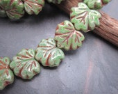Satin Green Picasso Maple Leaves