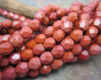 Brick Faceted Fire Polish 6mm Beads