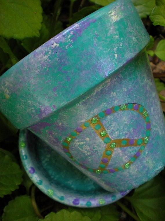 Peace Sign - Painted Flower Pot - Aqua and Purple