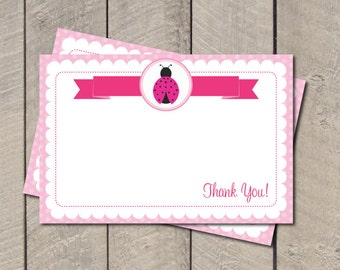 Ladybug Thank You Note - Hot Pink & Light Pink Ladybug Thank You Card - Digital Printable Thank You