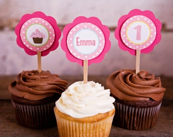 Cupcake Theme Birthday Party Decorations - Cupcake Party Supplies - CUPCAKE TOPPERS - Sweet Treats Party
