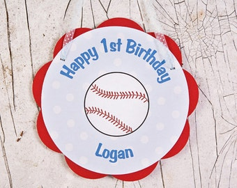 Baseball Theme Door Hanger - Baseball Happy Birthday Party Sign - Baseball Party Decoration in Red & Blue