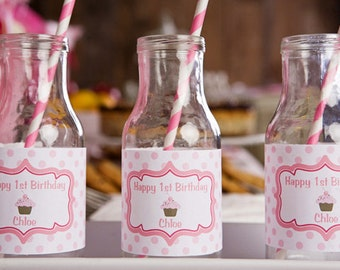 Cupcake Themed Water Bottle Labels - Cupcake Birthday Party Decorations in Hot & Light Pink (12)