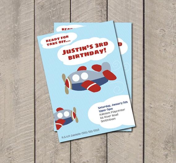 Airplane Birthday Invitation Diy Printable By Vindee On Etsy: Items Similar To Airplane Birthday Party Invitation