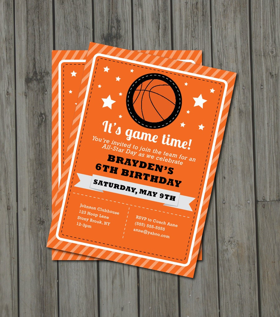Basketball Birthday Invitations gangcraftnet – Basketball Birthday Invitations
