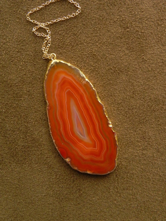 Bright Carnelian Agate Slice and 14kt Gold Fill Pendant Necklace