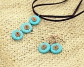 Mint blue turquoise gemstone set casual earrings pendant with copper spirals made in Israel