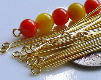 Two Inch Long Gold Eyepins 50 Brass Eye Pins 21 - Gauge