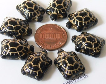 8 Turtle Opaque Black/Gold Czech Animal Glass Beads 19mm
