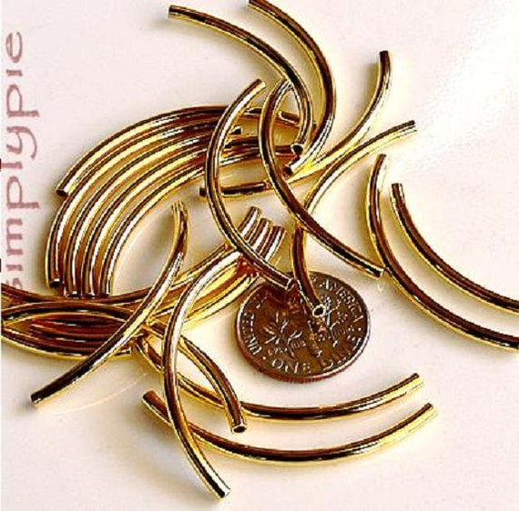 Gold Curved Tube Noodle Brass Metal Beads 38x2mm 10 Pcs