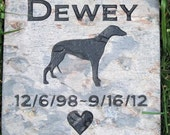Personalized Greyhound Dog Stone Memorial 6 x6 Inch Memorial Burial Stone & Other Breeds Grave Markers