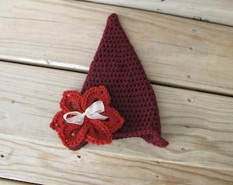 Crochet Newborn Pixie Hat, Crochet Newborn Photo Prop, Crochet Enchanted Pixie Hat, Holidays, Christmas