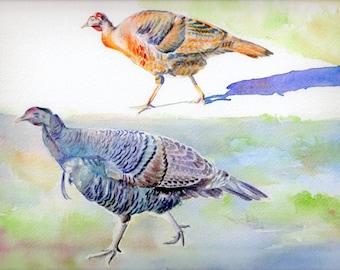 "ART print from original watercolor, ""WILD TURKEYS"" watercolor painting, nature, Maine, birds, Thanksgiving"