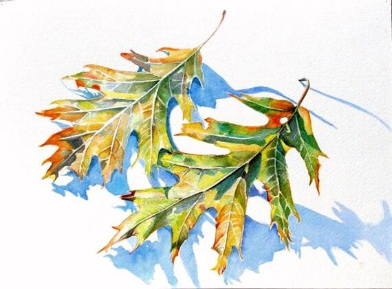Leaves, watercolor painting original art print // trees, nature, watercolor painting, Autumn, still life