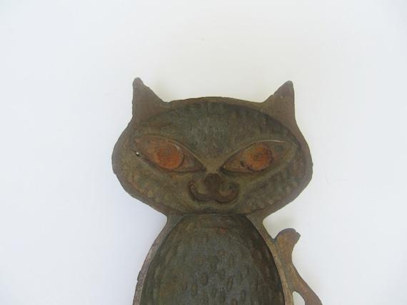 Mid Century Cast Iron Cat Trivet Bowl Spoon Rest