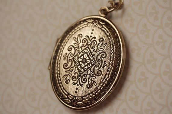 Large Gold Ornate Vintage Locket Necklace With Picture Frames