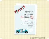 Vintage Race Car Invitations Set of 10 with Envelopes, Blue and Red, Printed