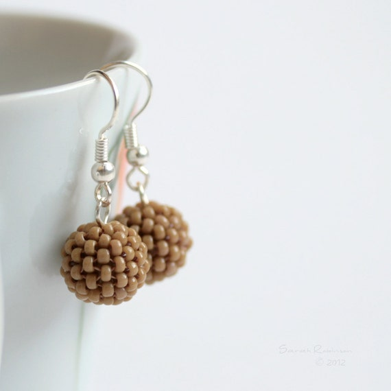 Toffe Brown Earrings Beaded Bead Dangle
