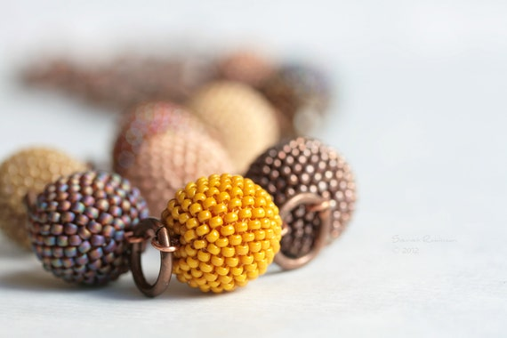 Autumn Sand and Brown Beaded Beads Long Necklace with Swarovski Smoked Topaz